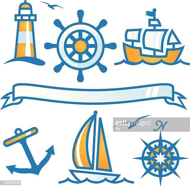 ilustraciones, imágenes clip art, dibujos animados e iconos de stock de elementos de náutica - faro