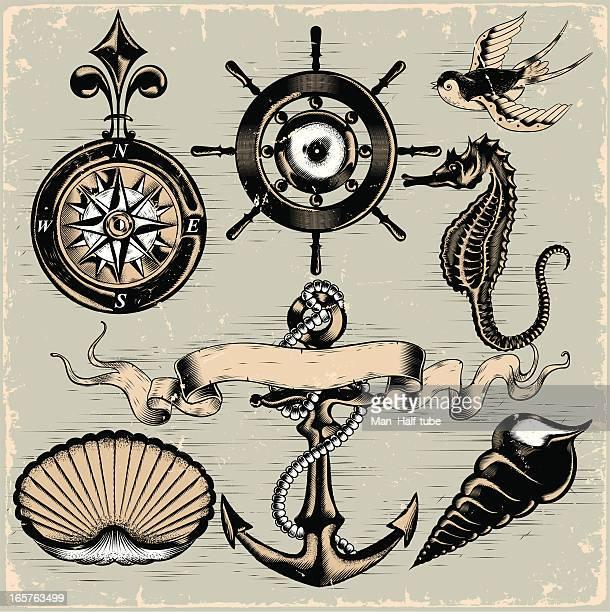 ilustrações de stock, clip art, desenhos animados e ícones de elementos náuticos - cavalo marinho