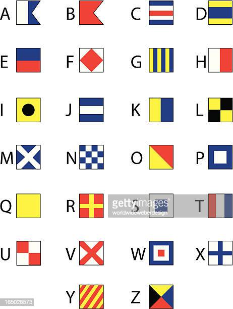 nautical flags alphabet - izusek 幅插畫檔、美工圖案、卡通及圖標