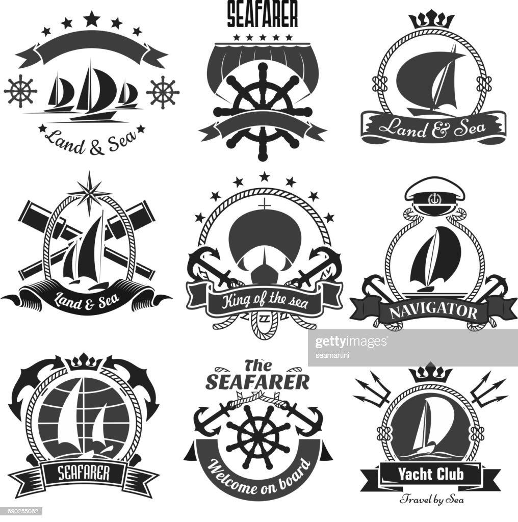Nautical heraldic symbols, marine vector icons set