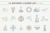 Nautical icon set, line style design elements.