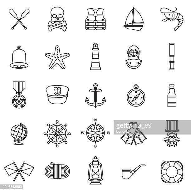 航海アイコンセット - セーラーハット点のイラスト素材/クリップアート素材/マンガ素材/アイコン素材