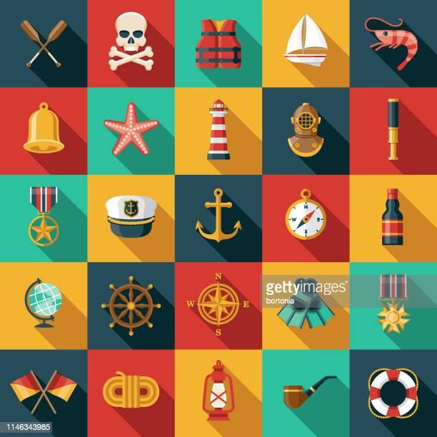 nautical icon set - lighthouse stock illustrations