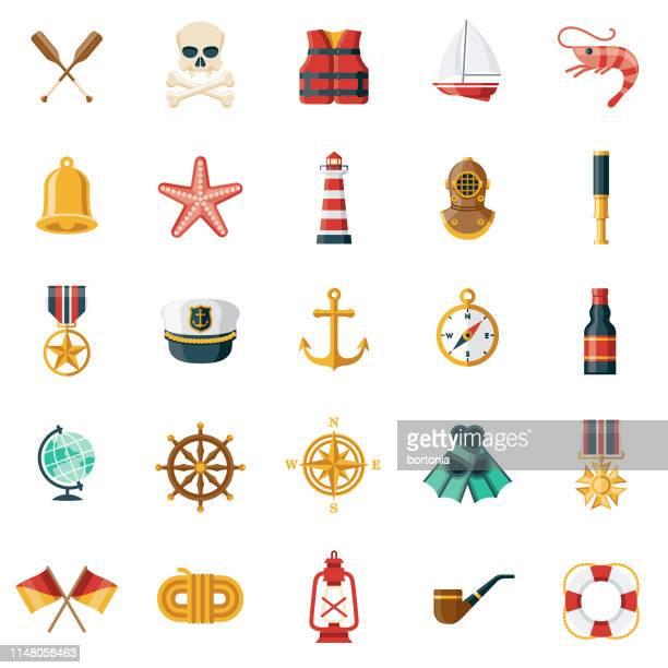 illustrations, cliparts, dessins animés et icônes de ensemble d'icône nautique - ancre