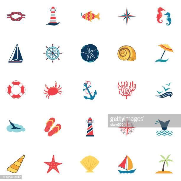 nautical icon - set - lighthouse stock illustrations
