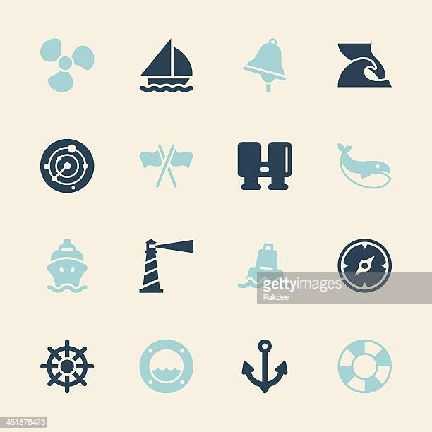 nautical icons - color series | eps10 - buoy stock illustrations, clip art, cartoons, & icons