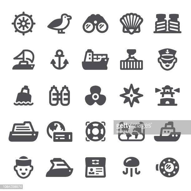 nautical icons - buoy stock illustrations, clip art, cartoons, & icons