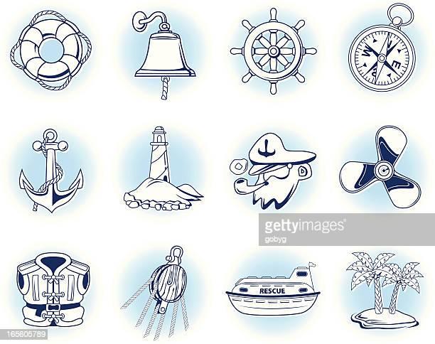 nautical icons - lifeboat stock illustrations