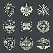 Nautical Insignias Logotypes Template Set.