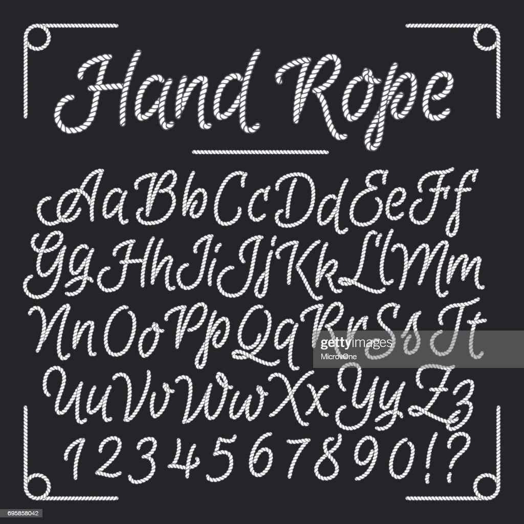 Nautical letters from hand rope. Vector thread alphabet