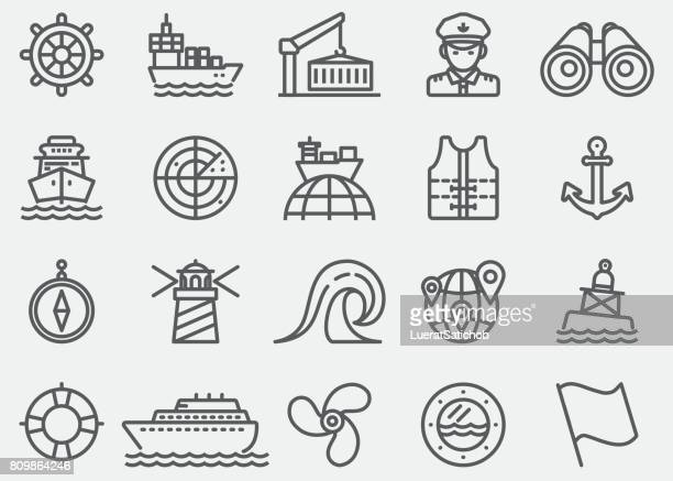 nautical line icons - commercial dock stock illustrations