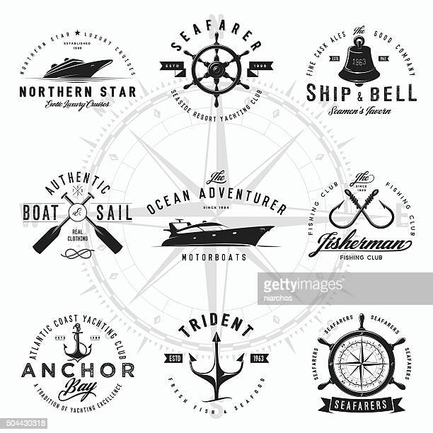 nautical logos - bell stock illustrations