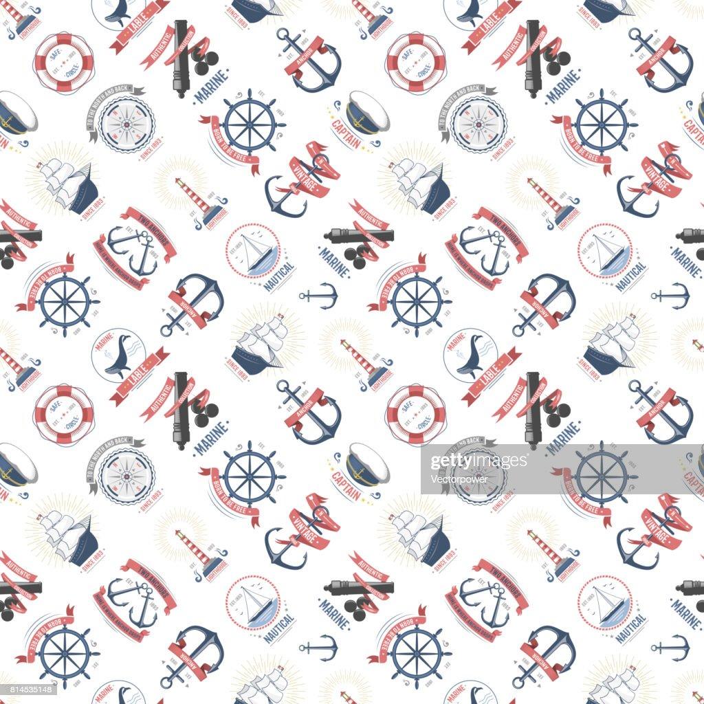 Nautical marine sea anchor design graphics vector seamless pattern background
