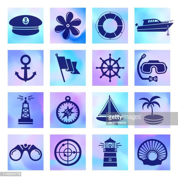 Nautical & Maritime Club Holographic Style Vector Icon Set