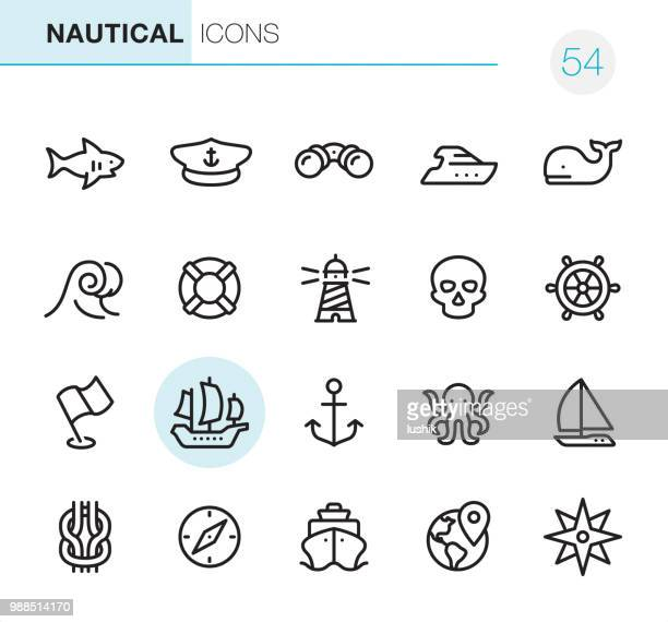 nautical - pixel perfect icons - pirate boat stock illustrations, clip art, cartoons, & icons