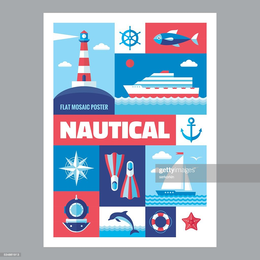 Nautical - poster in flat style. Set of icons marine.