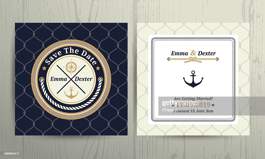 Nautical rope wedding card on fishnet background