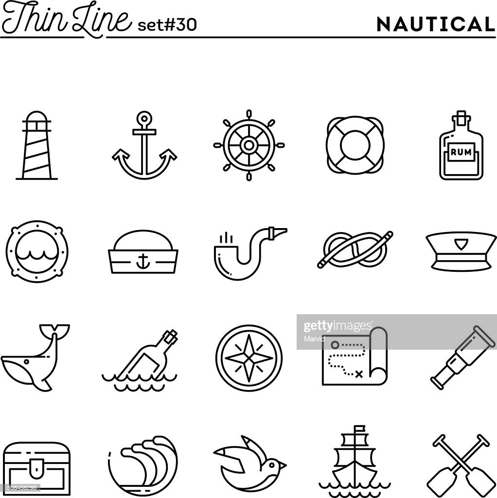 Nautical, sailing, sea animals, marine and more, thin line icons