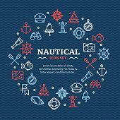 Nautical Sea Travel Round Design Template Line Icon Concept. Vector