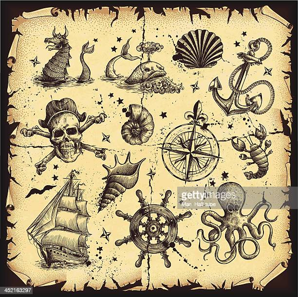 nautical set - pirate boat stock illustrations, clip art, cartoons, & icons