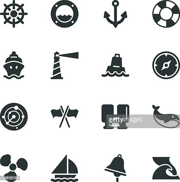 nautical silhouette icons - buoy stock illustrations, clip art, cartoons, & icons