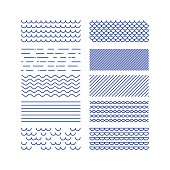 Nautical textures collection. Linear graphic. Sea theme design kit. .