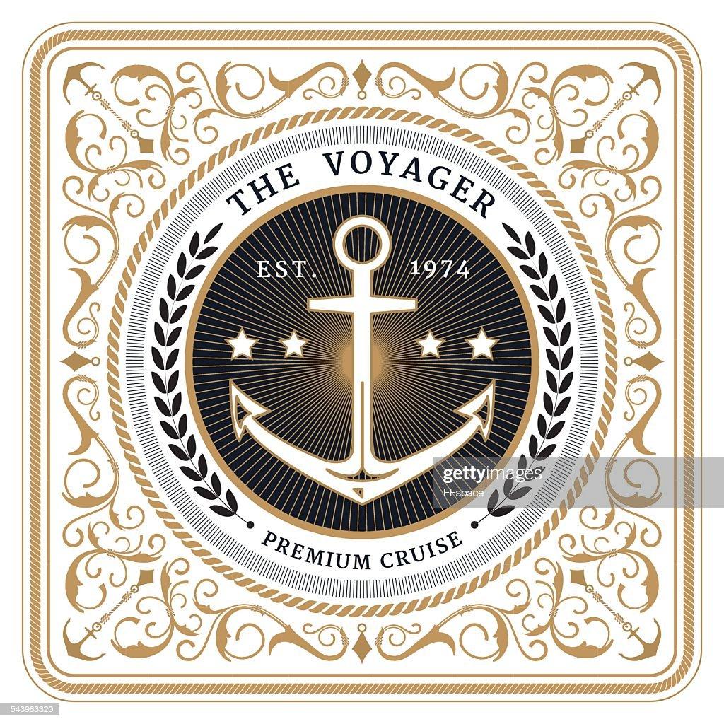 Nautical the voyager retro white card