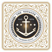 Nautical the voyager retro white card