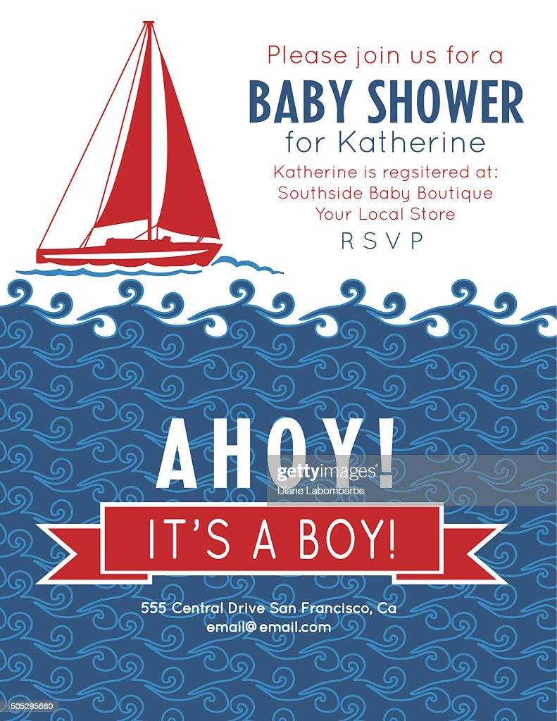Nautical Theme Baby Shower Party Invitation Vector Art | Getty Images