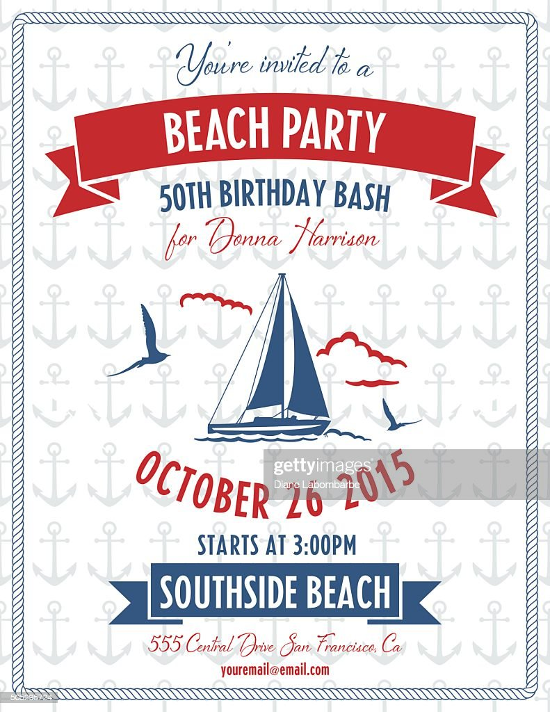 Nautical Theme Beach Party Invitation Vector Art | Getty Images