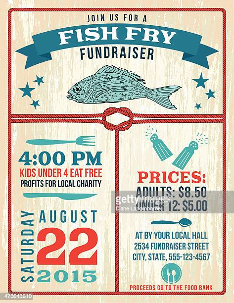 nautical themed fish fry poster template - fried stock illustrations