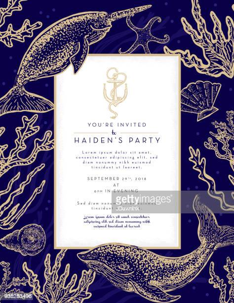 Nautical themed invitation design template with narwhal whale, algae and sea shells