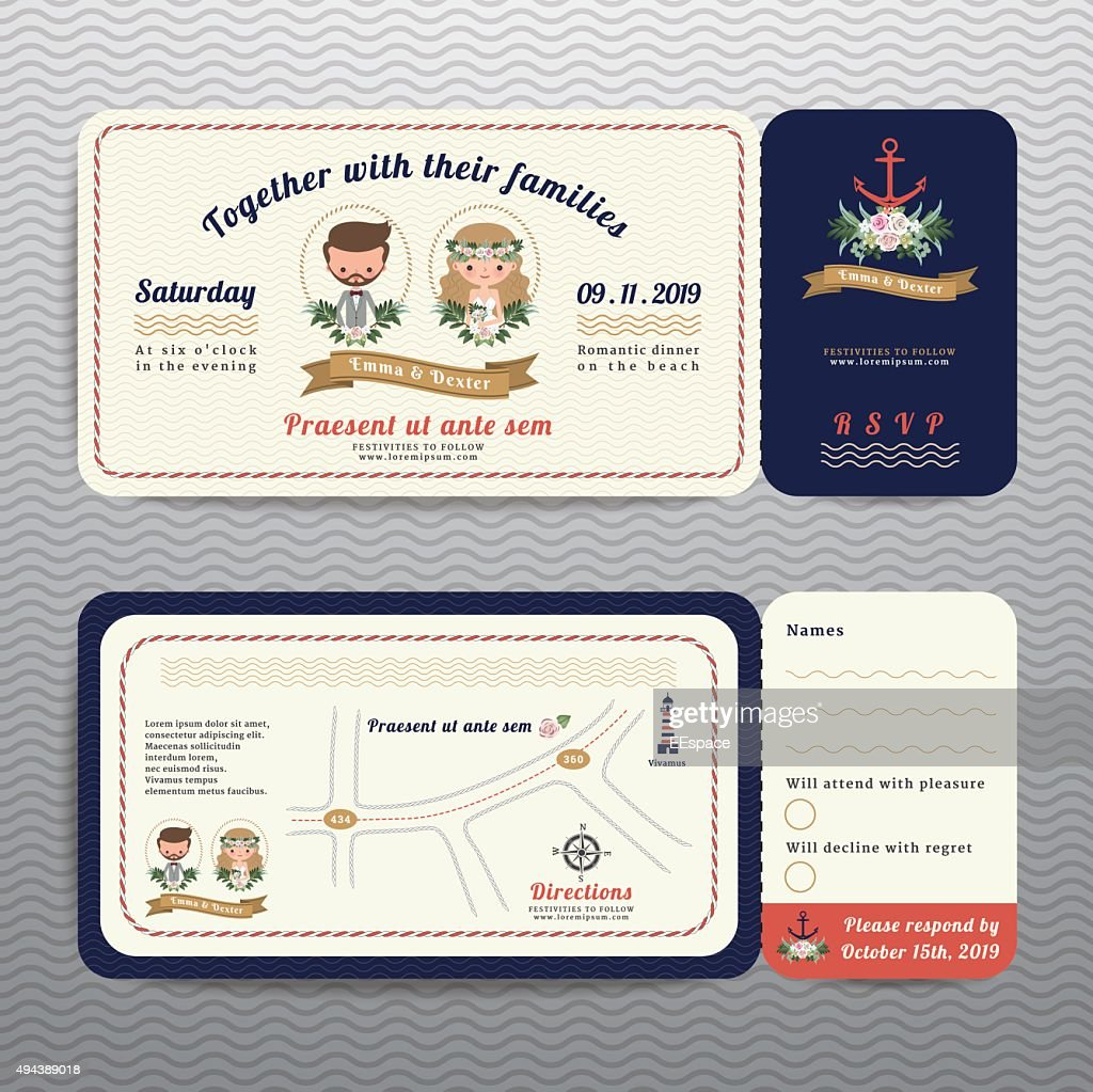 Nautical ticket hipster bride and groom wedding invitation and RSVP