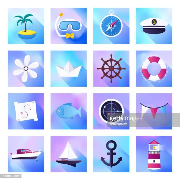 Nautical Tourism & Yacht Charter Holographic Gradient Style Vector Flat Icon Set