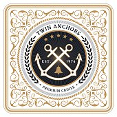 Nautical twin anchors retro card