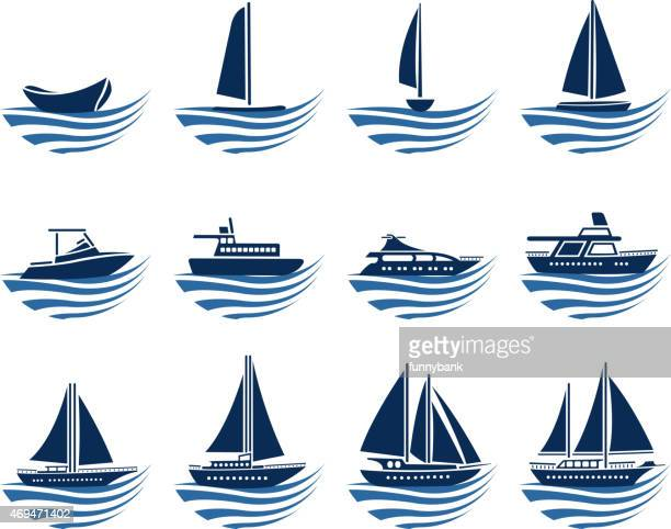 nautical vessel icons - motorboating stock illustrations, clip art, cartoons, & icons