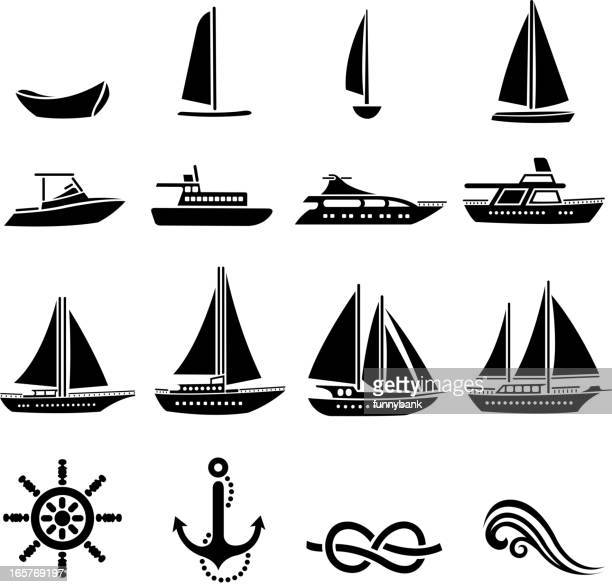 nautical vessel silhouette set - motorboating stock illustrations, clip art, cartoons, & icons