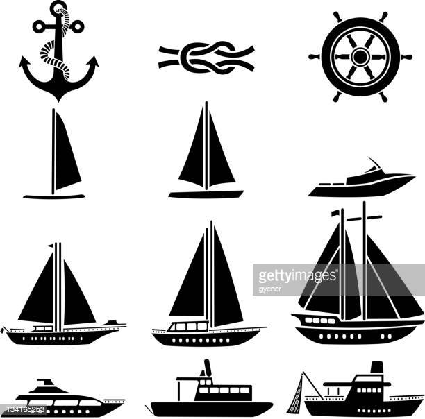 nautical vessel symbols - motorboating stock illustrations, clip art, cartoons, & icons