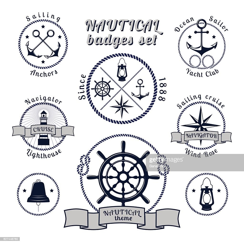 Nautical vintage badges set on white background