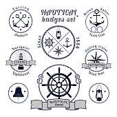 Nautical vintage badges set on white background
