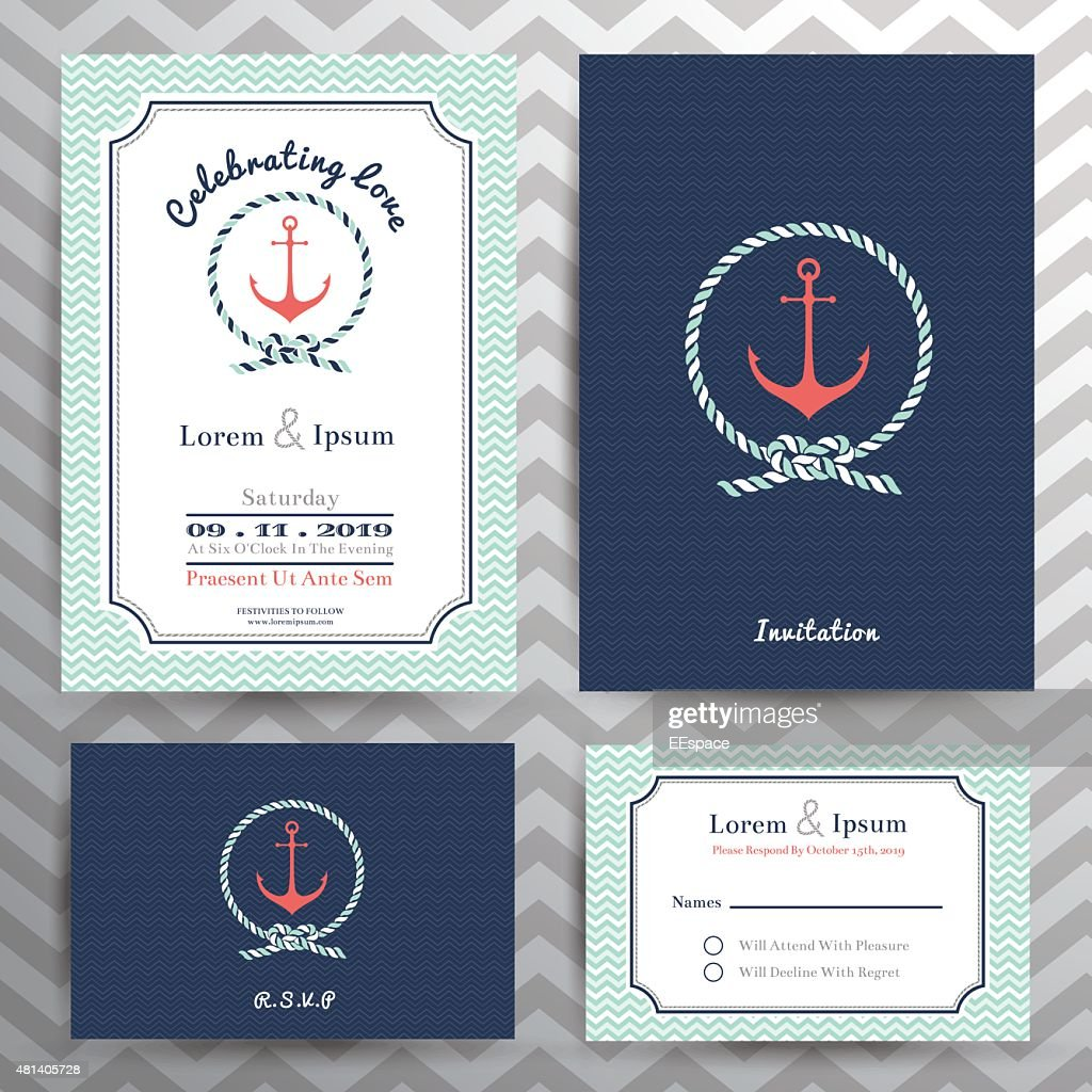 Nautical wedding invitation and RSVP card template set