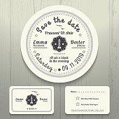 Nautical wedding invitation and RSVP round card template set