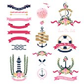 Nautical wedding theme with floral and anchor ornaments