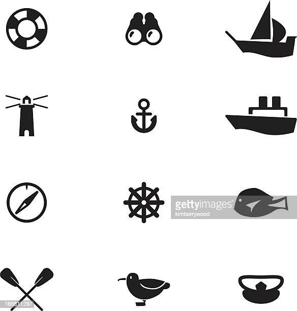 Nautical-themed vector icons, including anchor, lighthouse