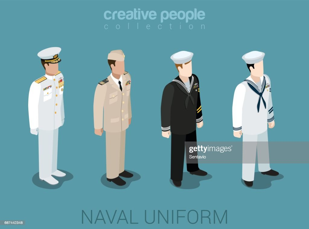 Naval military people in uniform flat isometric 3d game avatar user profile icon vector illustration set. Sailor navy officer NCIS fleet. Creative people collection. Build your own world.