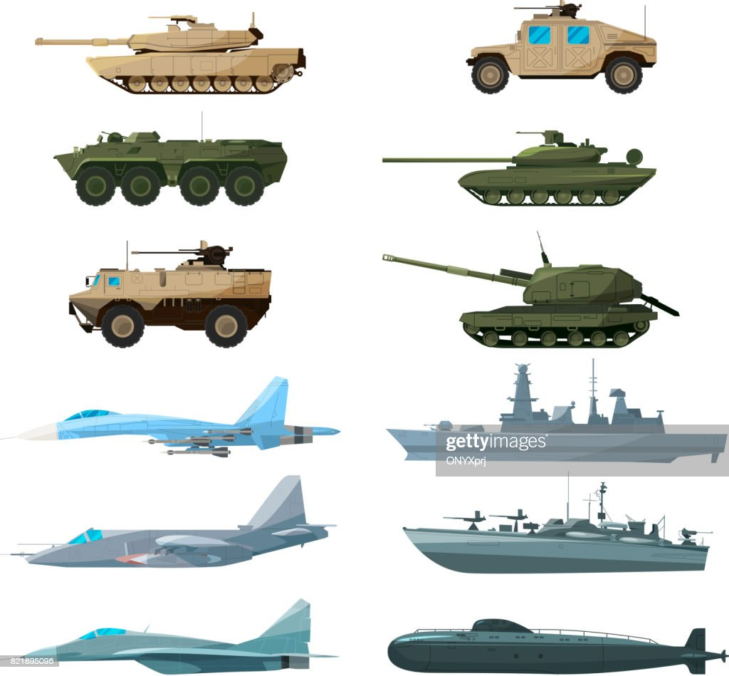 Naval vehicles, airplanes and different warships. Illustrations of artillery, battle tanks and submarine