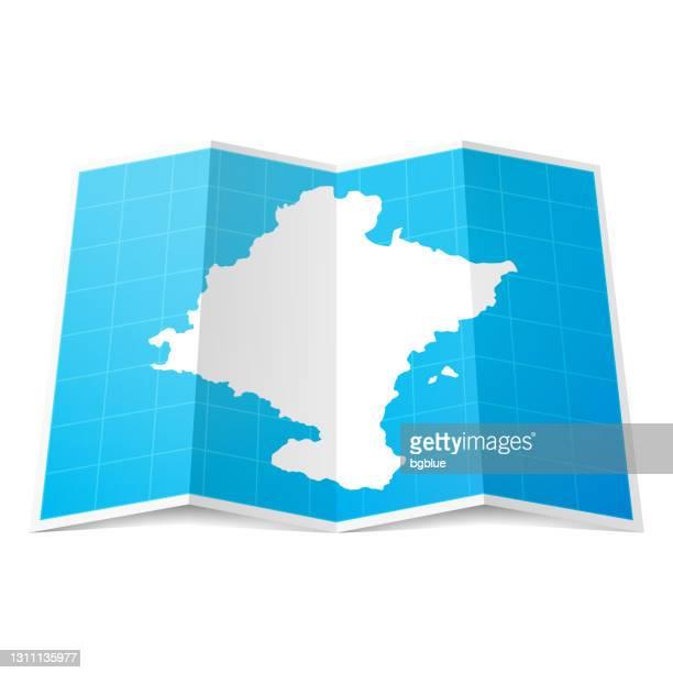 ilustraciones, imágenes clip art, dibujos animados e iconos de stock de mapa navarro doblado, aislado sobre fondo blanco - comunidad foral de navarra