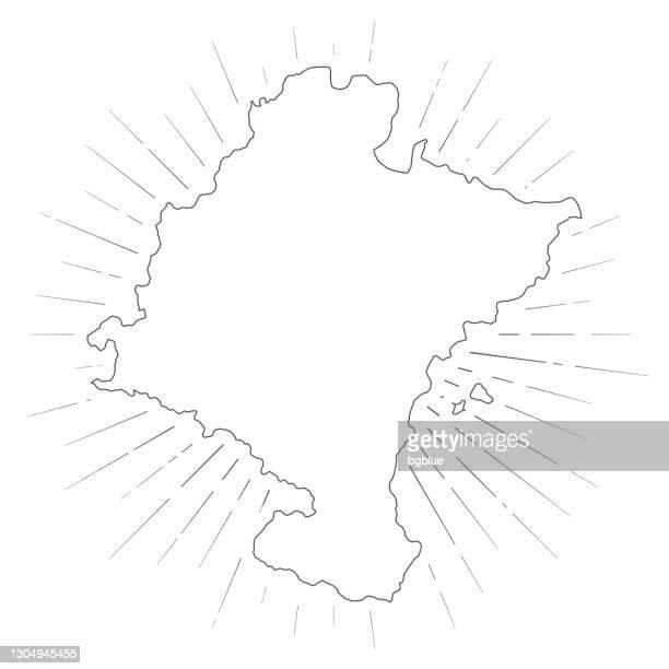 ilustraciones, imágenes clip art, dibujos animados e iconos de stock de mapa de navarra con rayos de sol sobre fondo blanco - comunidad foral de navarra