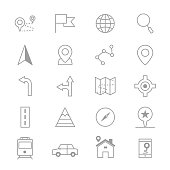 Navigation and location Icons Line Set Of Vector Illustration