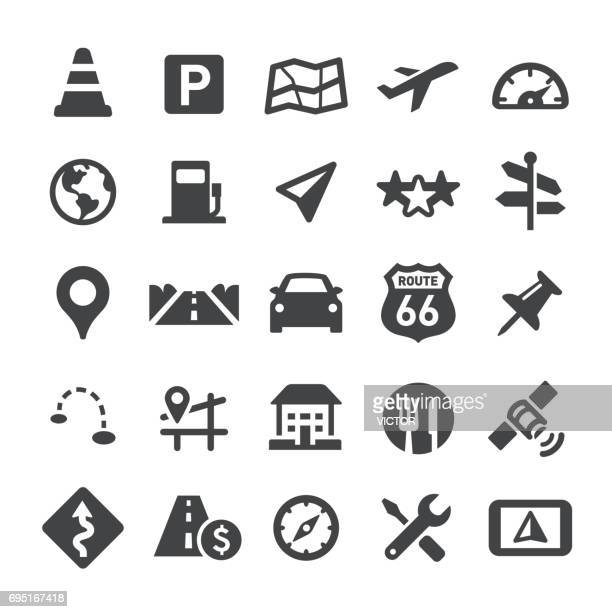 navigation and map icons - smart series - overpass road stock illustrations